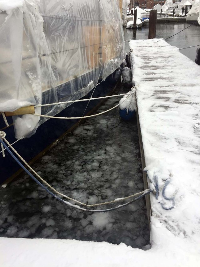 Ice in the marina - DiMillos, Portland, Maine