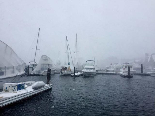 DiMillos Marina in a blizzard