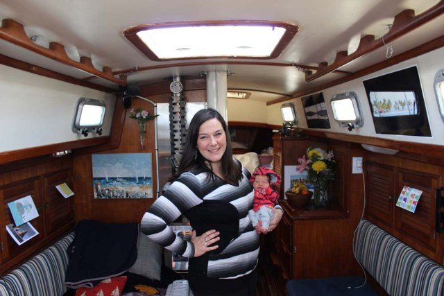 Zephyr Alvah Kruger Tetro - Newborn baby living aboard on a sailboat in Portland, Maine