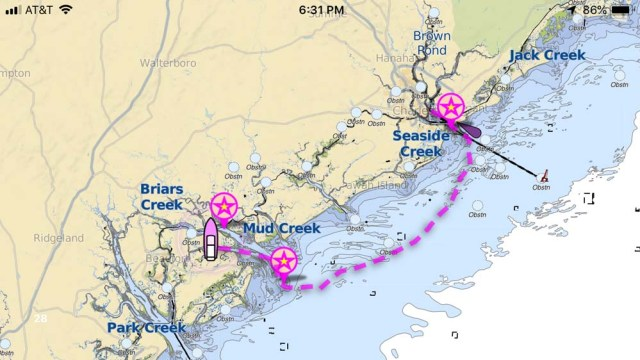 Charleston to Beaufort, SC on the outside - not quite the most efficient route