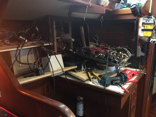 "Boat ""progress"" - nav station opened up on the Sabre 42 CB to do a little wiring work"