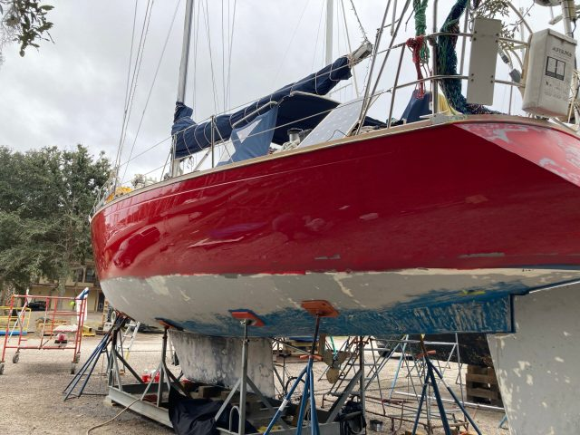 Alexseal Sunfast Red Topside Paint on Sabre 42 Sailboat