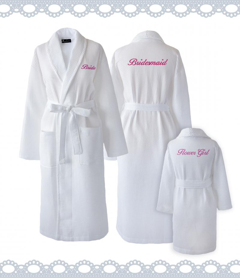 Personalised Bride White Waffle Dressing Gown  WithCongratulations