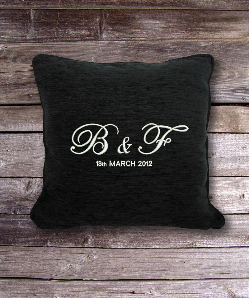 Personalised Cushion  Cover  Initials  Date