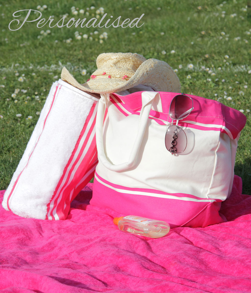 Personalised Embroidered Pink Bag  Towel Set  WithCongratulations