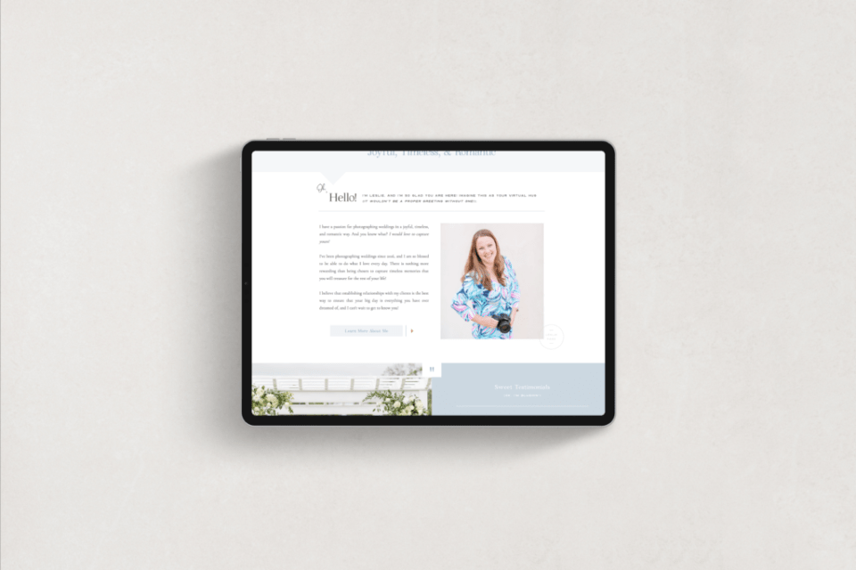 Leslie Page Photography - Custom Showit Brand and Web Design for Photographer by With Grace and Gold - Photo