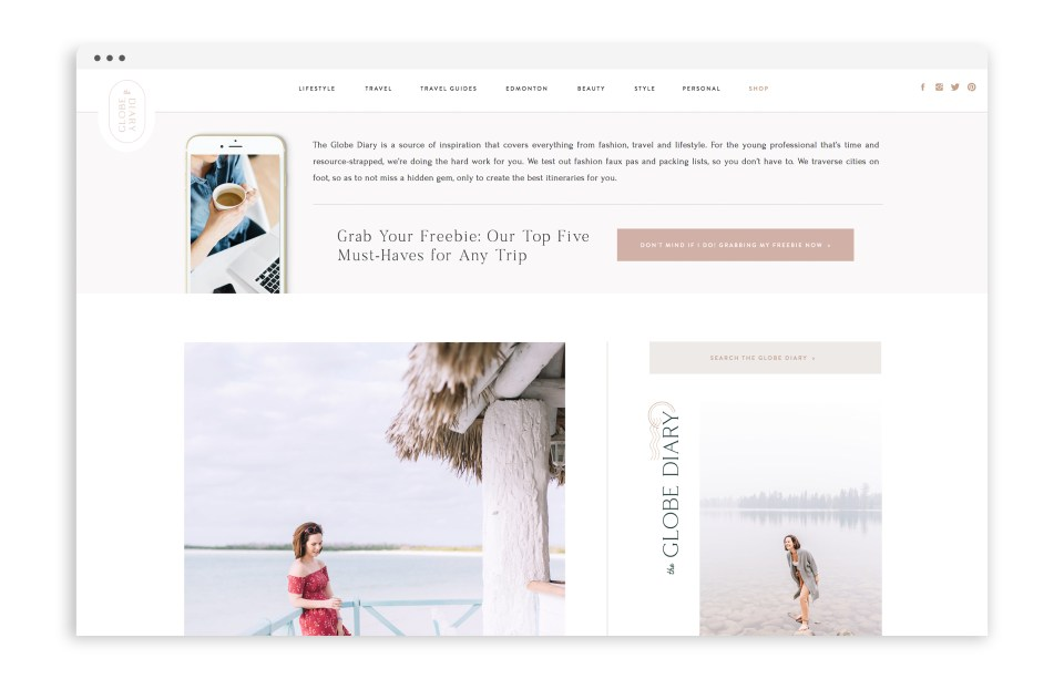 The Globe Diary - Custom Brand and Showit Web Design by With Grace and Gold - Showit Theme, Showit Themes, Showit Template, Showit Templates, Showit Design, Showit Designer - 0