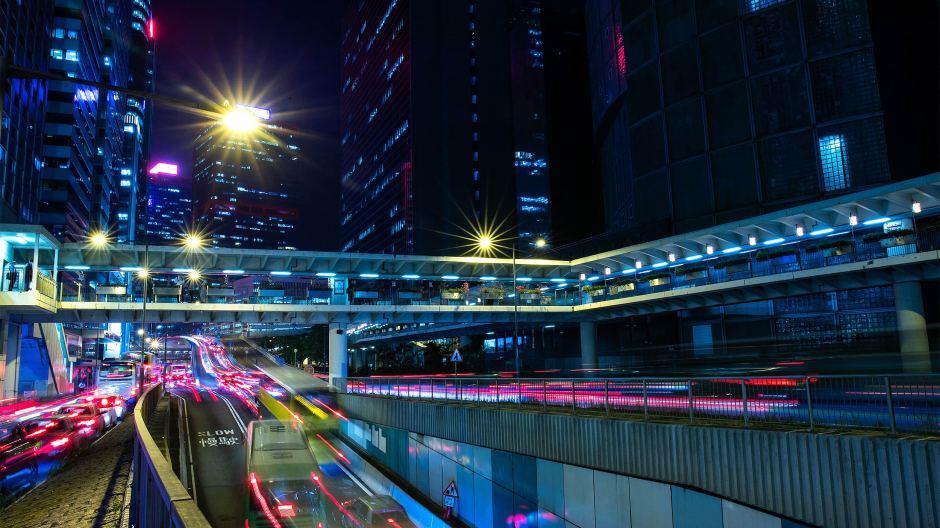 Hong Kong roads at night