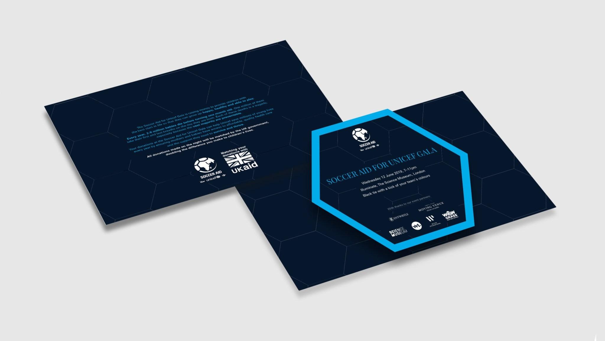 Unicef Soccer Aid gala invitation