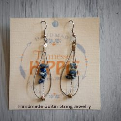 Handmade Guitar String Earrings by Christine Sargent of Tennessee Hippie -  Blue