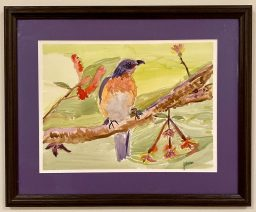 """Jo Ann Arena, """"The Observer"""", watercolor,  H 16 1/2"""" X W 20"""" (WITH FRAME) - $210"""