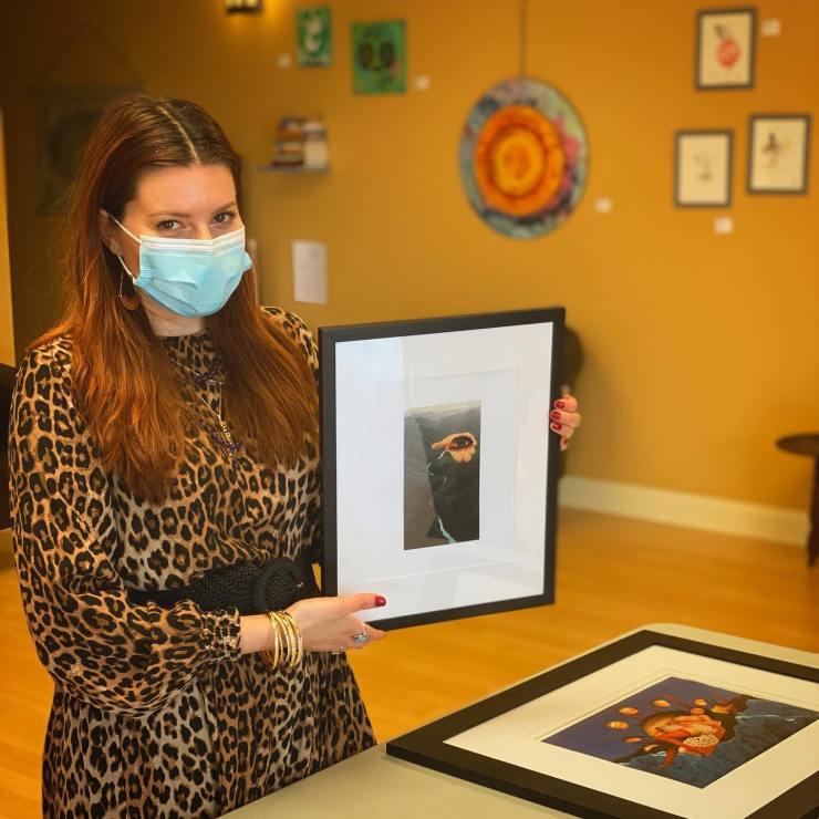 Artist Tali Rose Krupkin of Jersey City hold her analog collage art