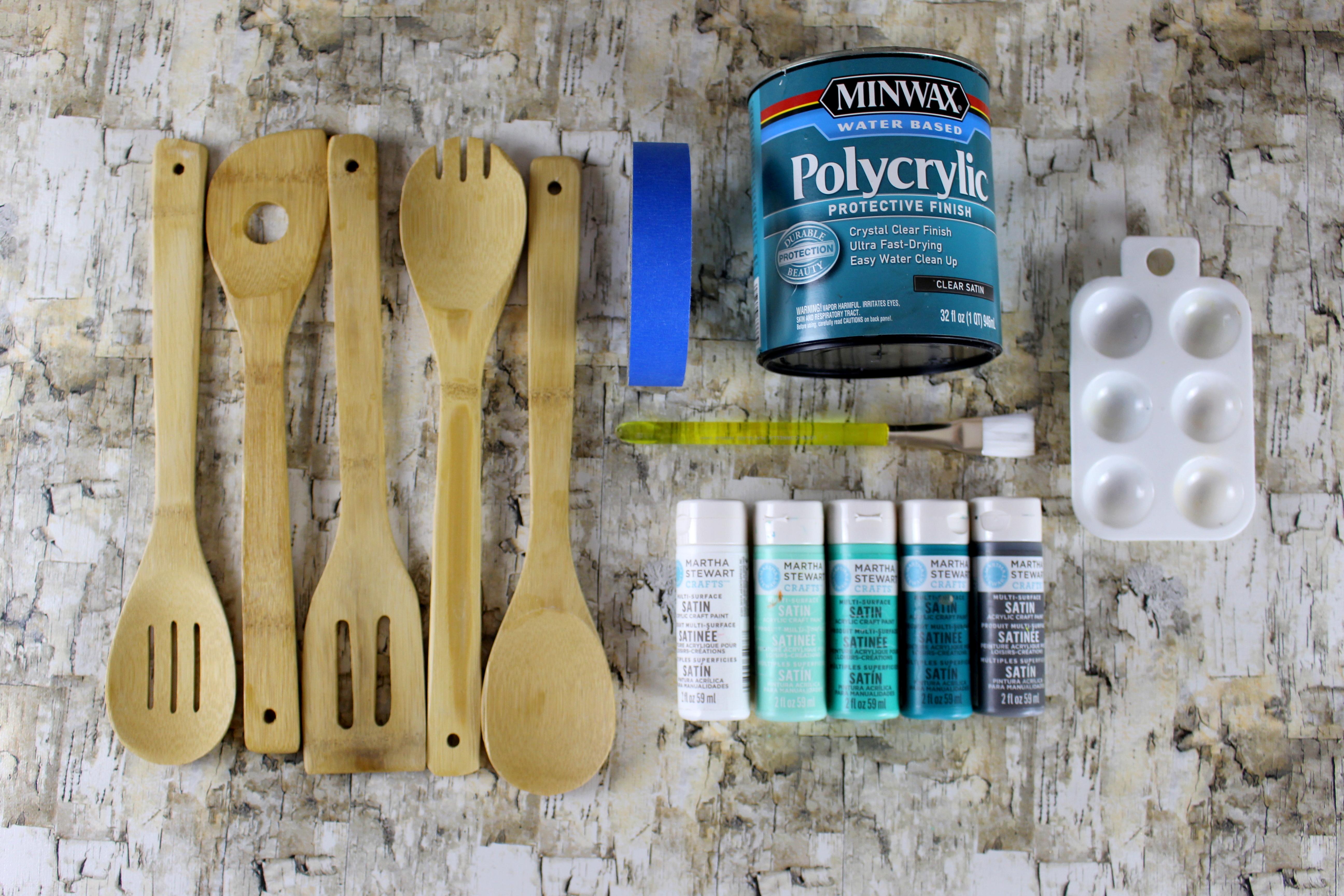 Materials-needed-to-paint-kitchen-utensils
