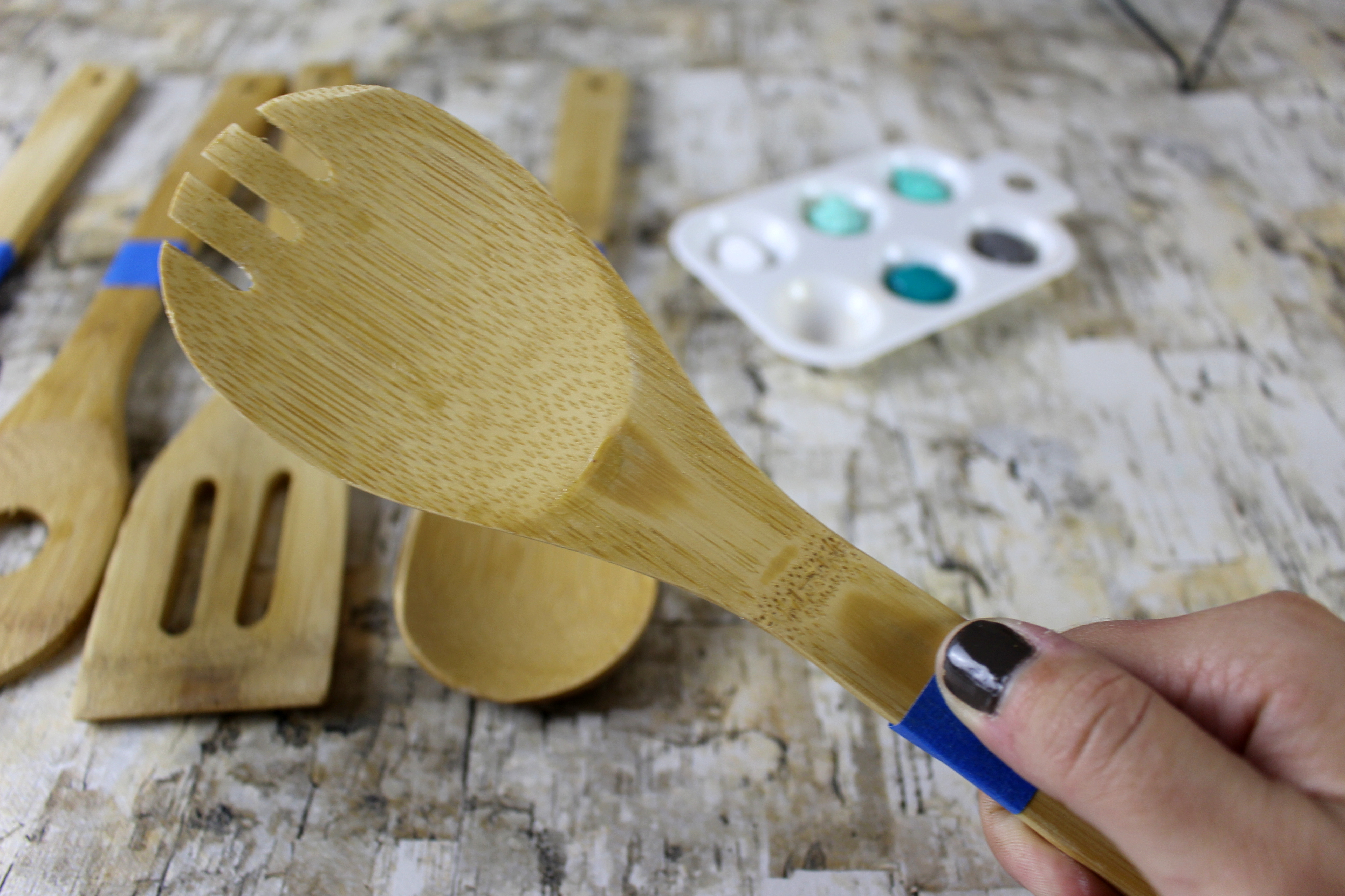 Create your own splash of color by painting kitchen utensils.