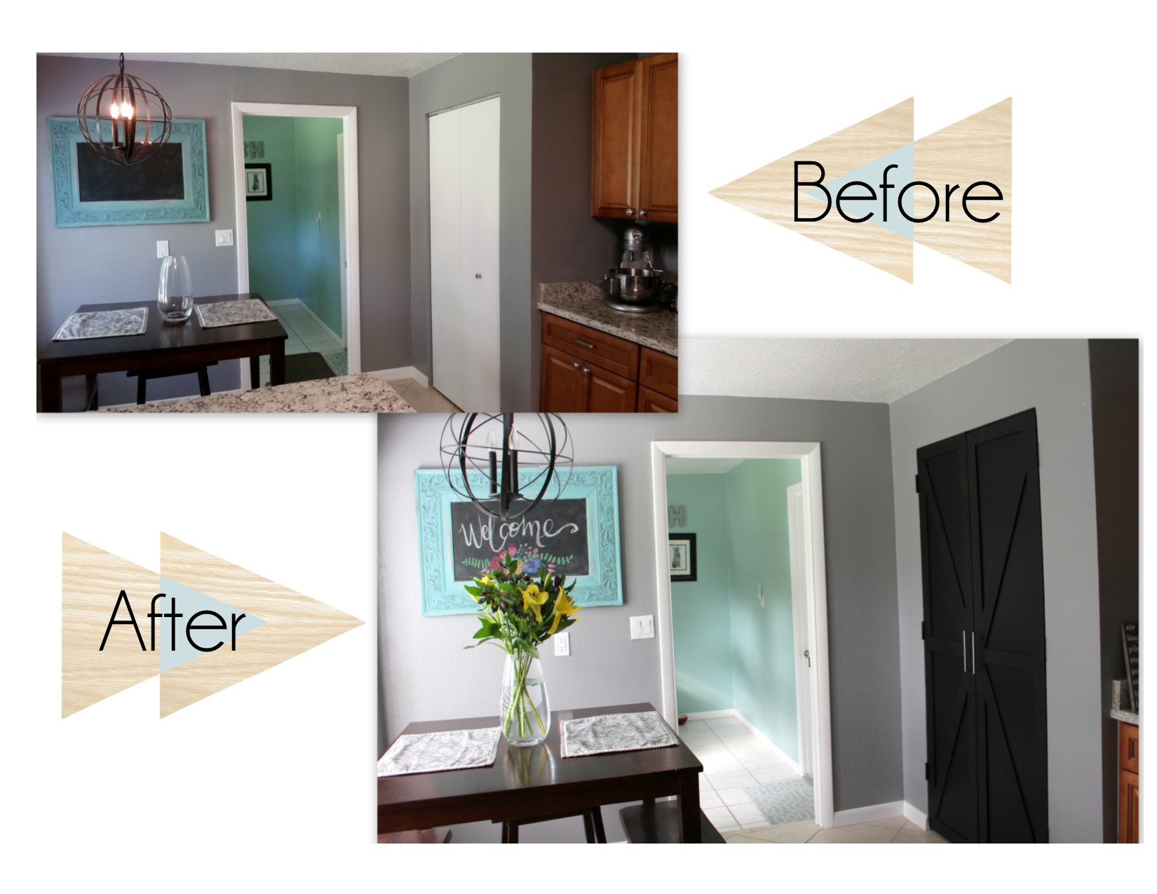 Before and After of Pantry Doors
