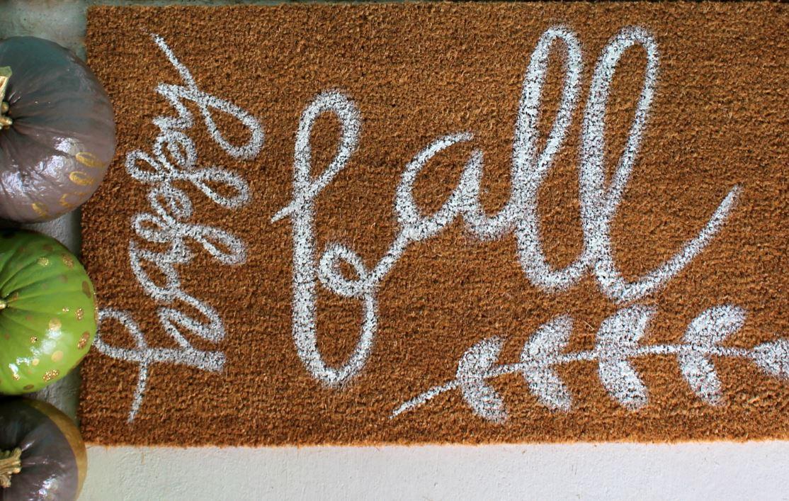 Doormat for the front door during fall