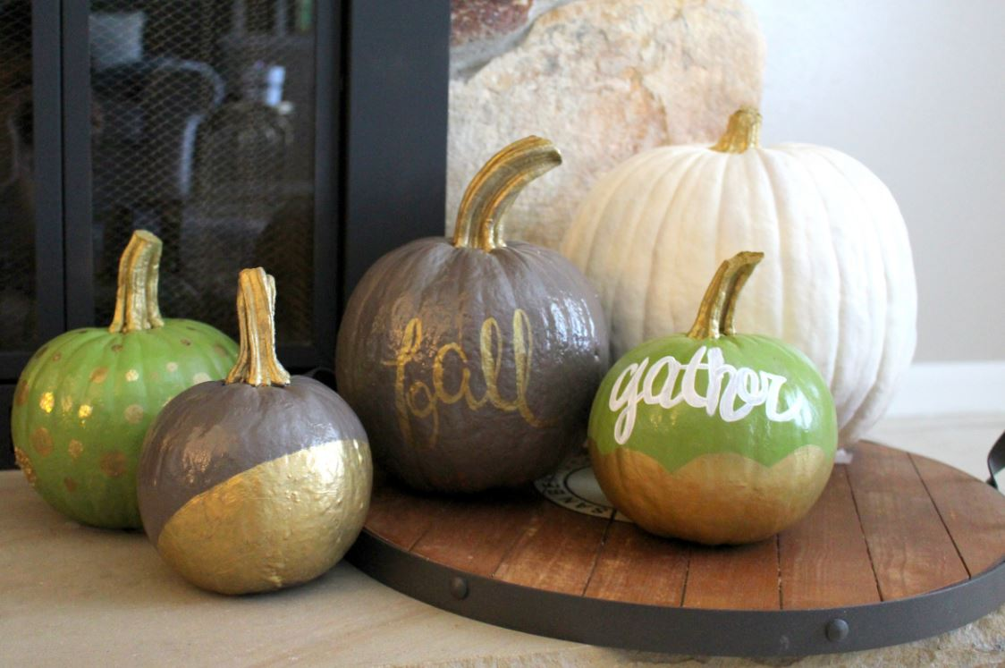 Creating painted pumpkins for fall and Thanksgiving decor.