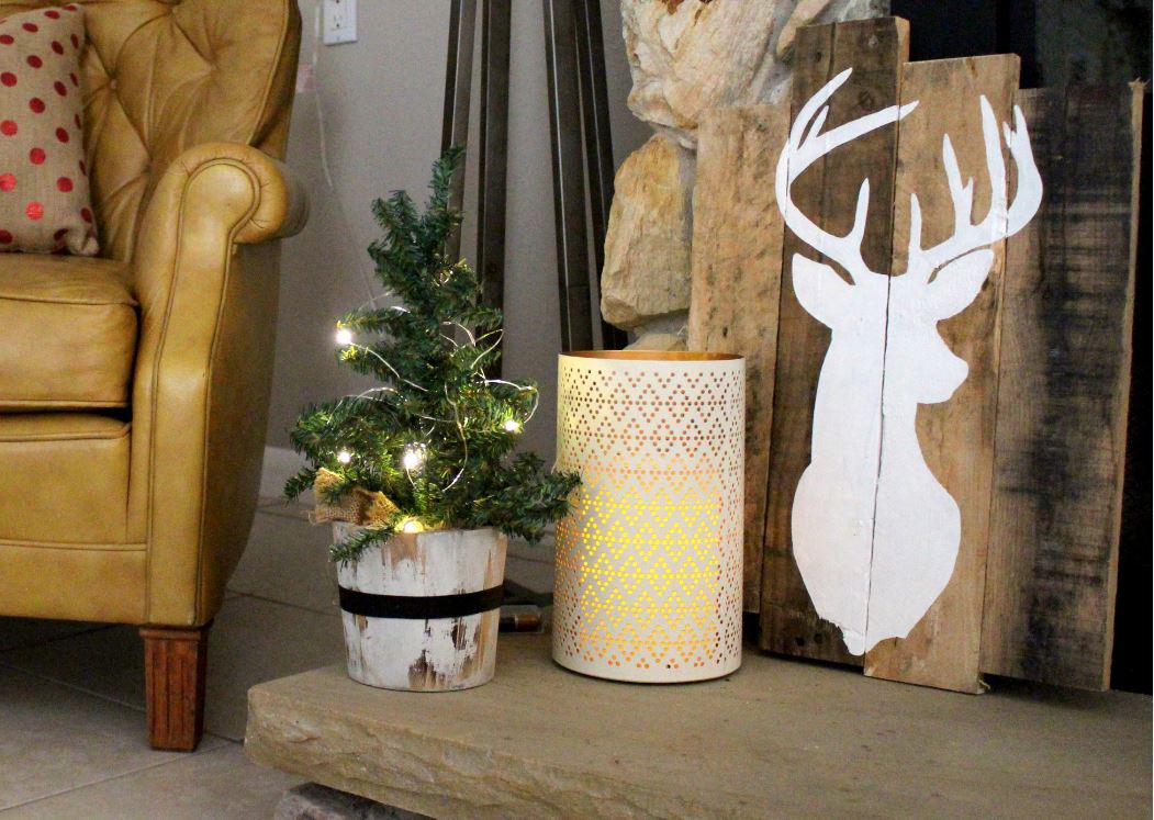 Christmas trees and deer for home decor.