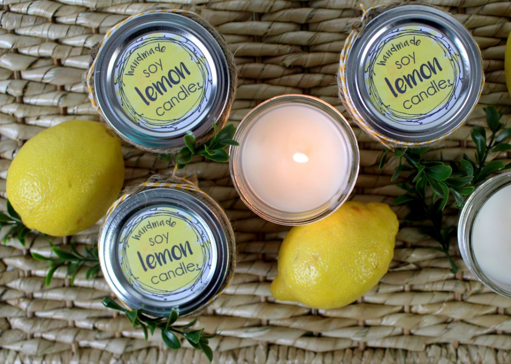 Handmade soy lemon candles are the perfect gift to friends, family, and neighbors!