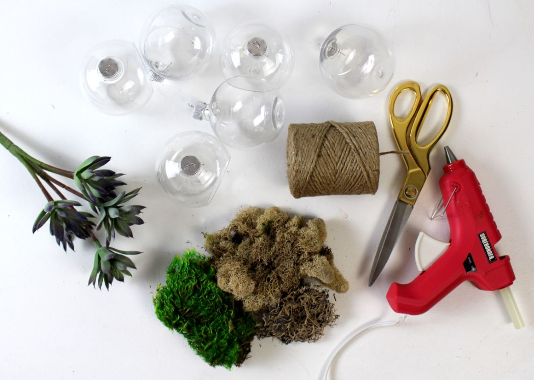 Supplies to create faux succulent ornaments