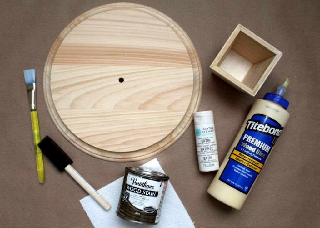 Supplies needed to create a wooden cake stand