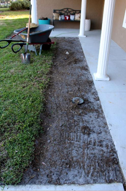 Removing all grass and weeds before creating a flowerbed