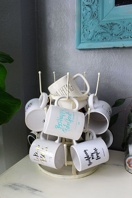 Using a glass drying rack for coffee mugs.