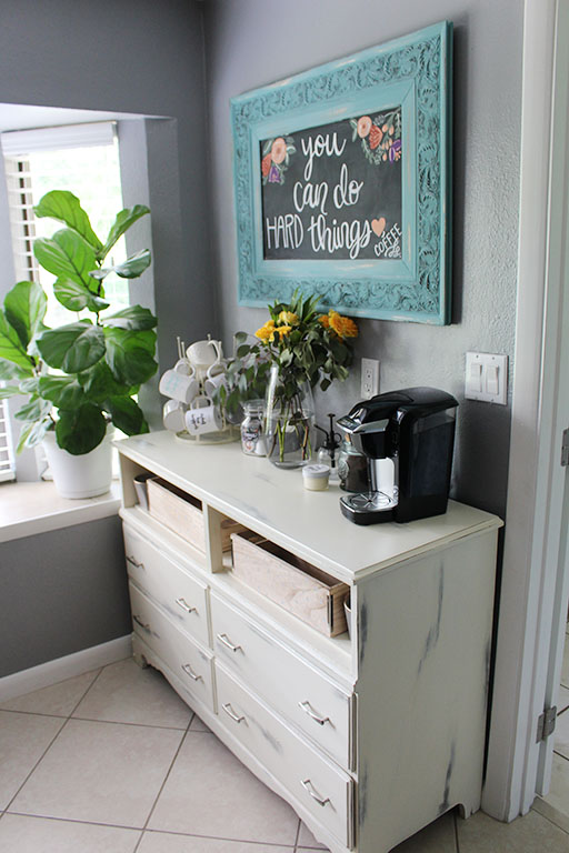 Using a dresser as a coffee bar