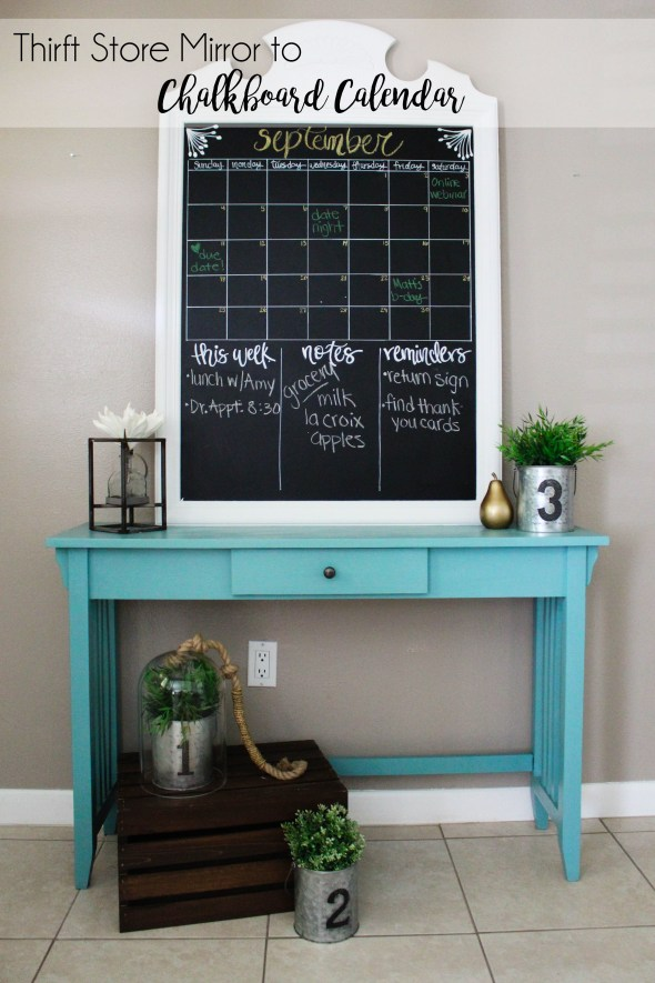 Thrift Store Mirror to Chalkboard Calendar