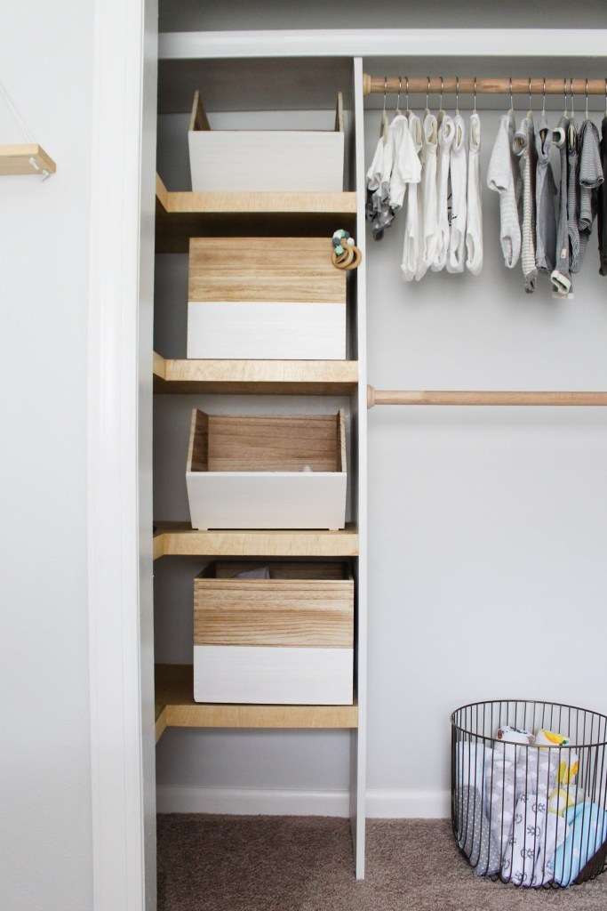 Use wooden crates in nursery closet