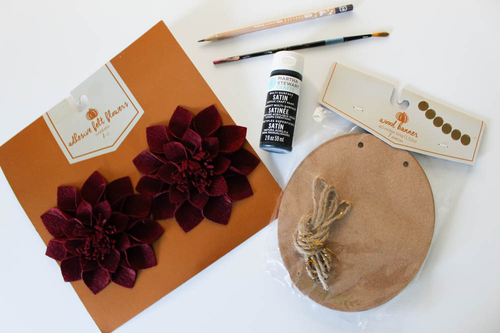 Supplies to create a calligraphy fall sign from Target One Spot - Within the Grove