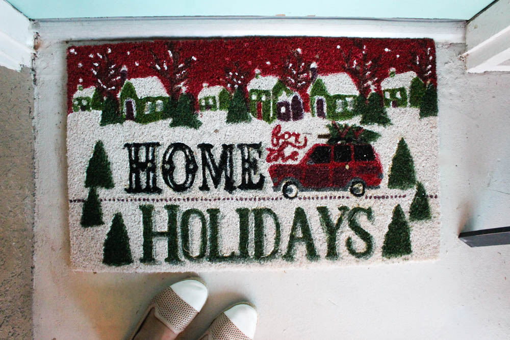 Home for the holidays door mat - Within the Grove