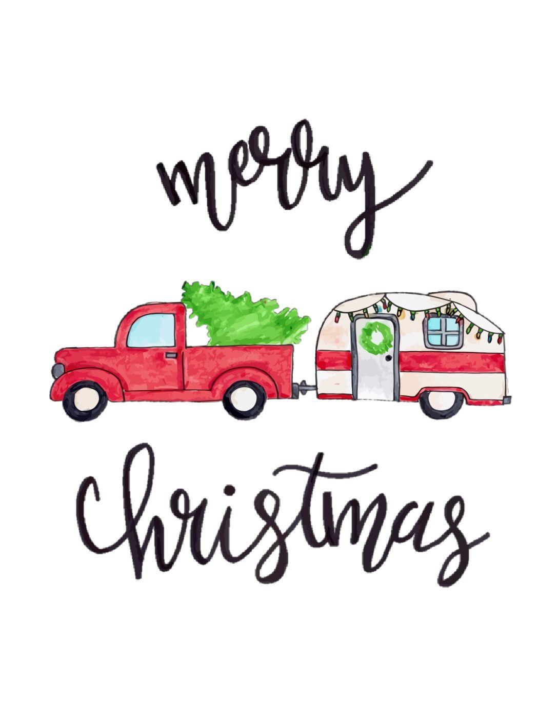 Free Printable // Merry Christmas Red Truck