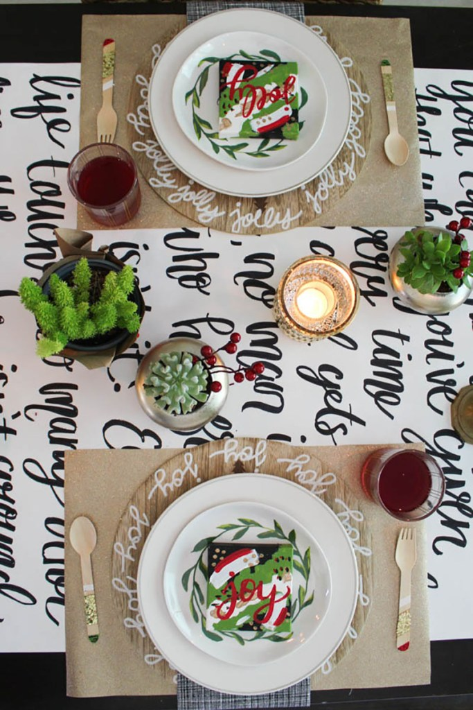 Handlettering a table runner for your holiday table - Within the Grove
