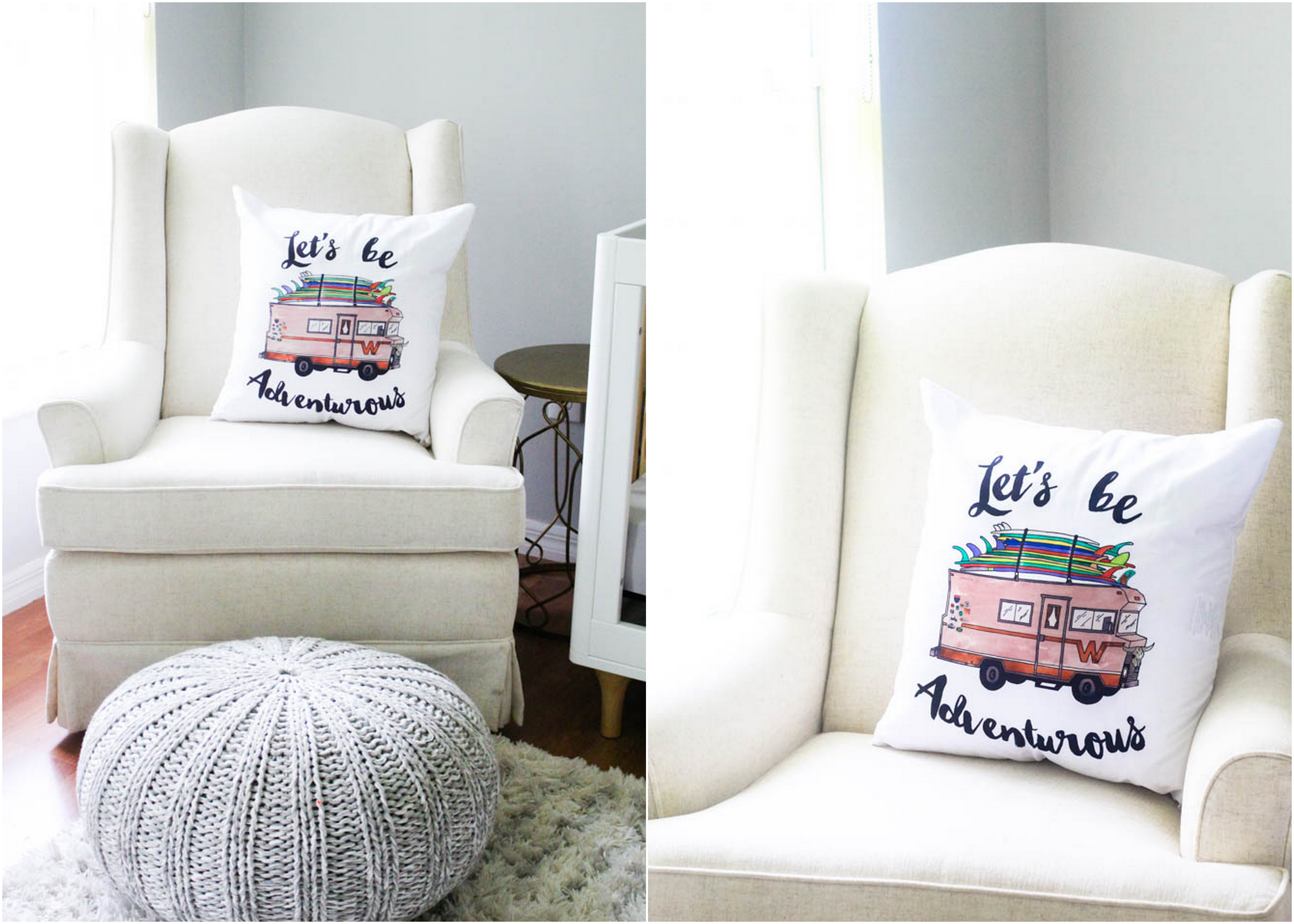 Let's Be Adventurous Pillow by Fin First - Within the Grove