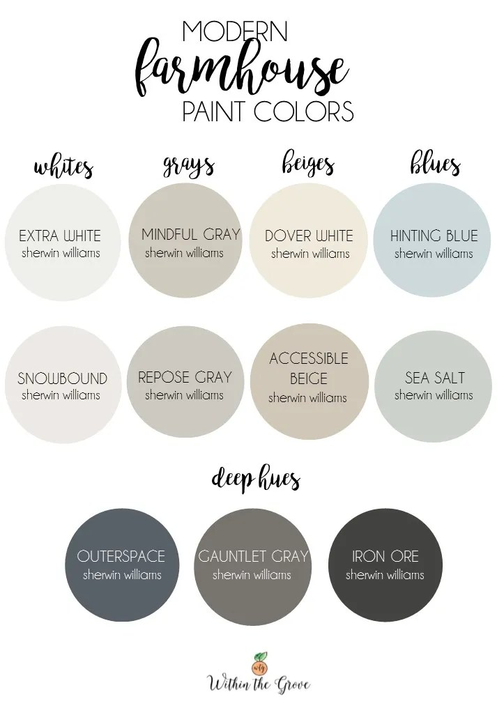 Modern Farmhouse Paint Colors by Sherwin Williams