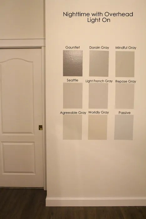 Gray Paint Colors By Sherwin Williams With Overhead Light On