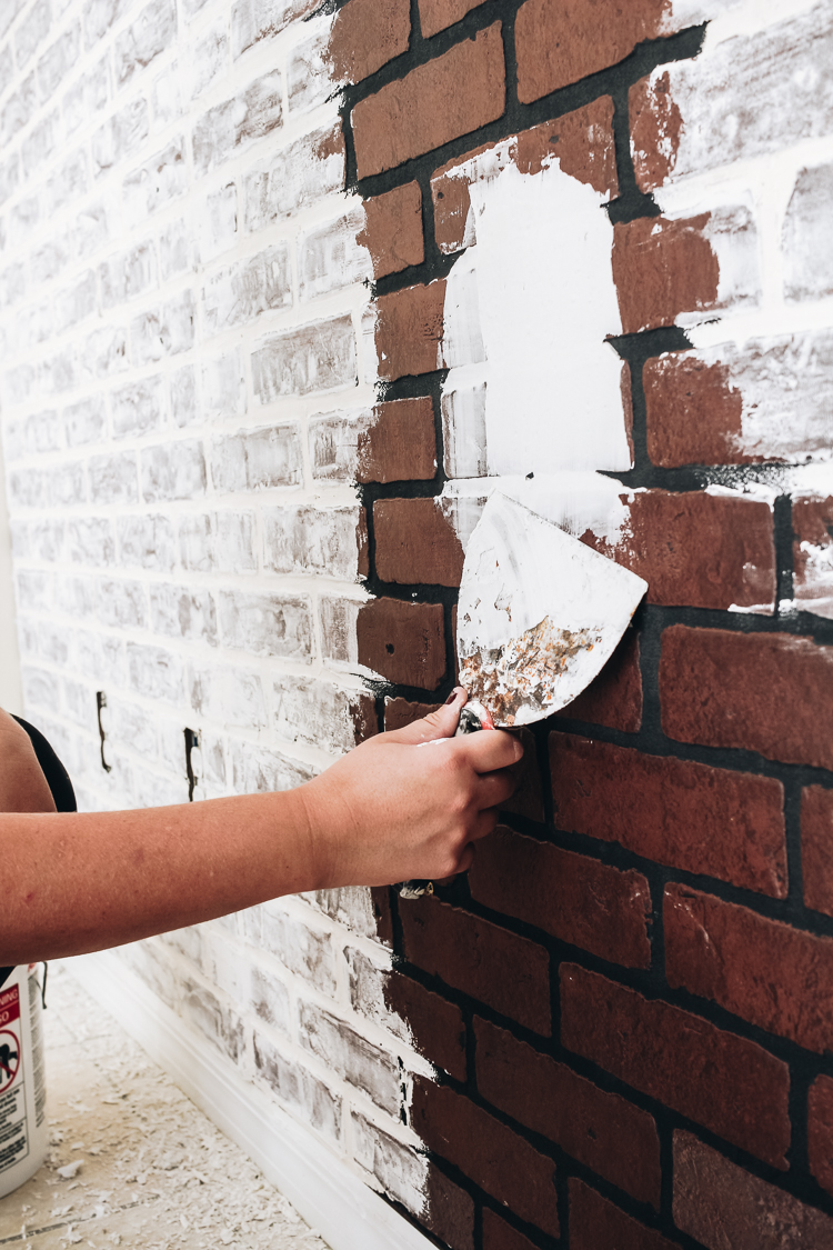 How To Diy Faux Brick Wall Within The Grove
