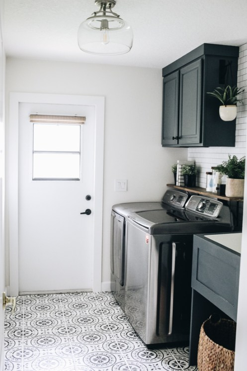 laundry room update painted stenciled floors within the on paint for laundry room floor ideas images id=88275