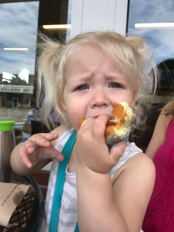 A lesson in being brave from a two year old who loves gymnastics, and donuts