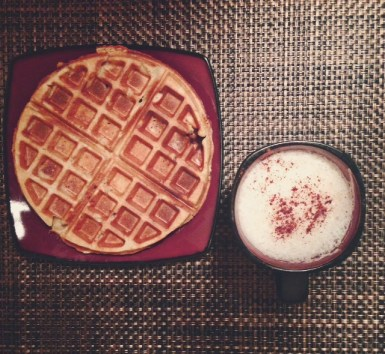 My delicious breakfast - cinnamon coffee with a side of waffles!