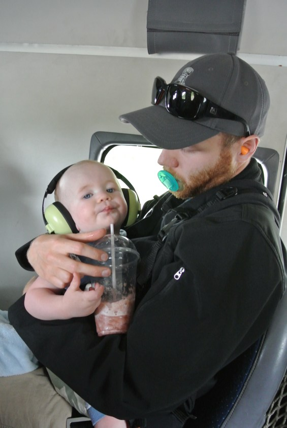 Smoothies and plane rides makes for one happy Wee Man!