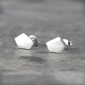 Pentagon Stud Earrings in Sterling Silver £14.75