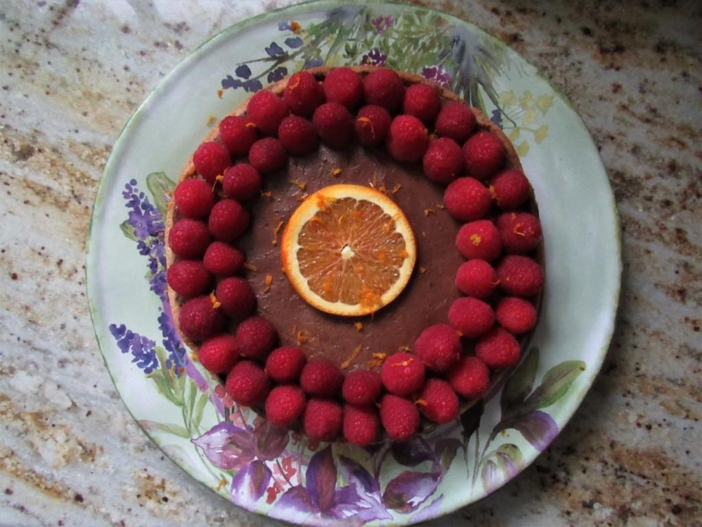 chocolate raspberry orange tart