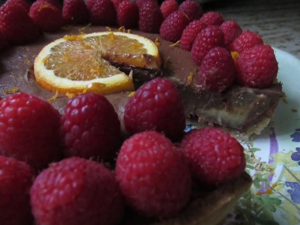 chocolate orange raspberry tart