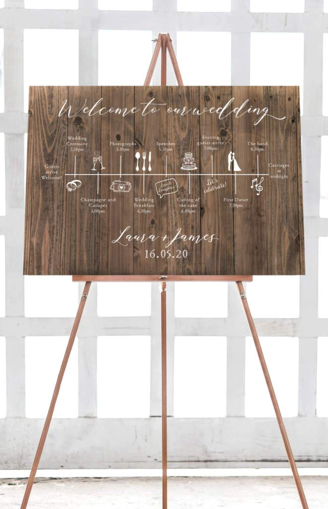 Wooden printed wedding time line sign
