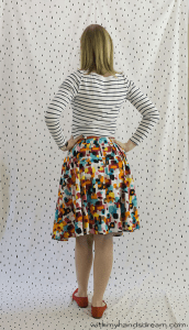 Colette Zinnia skirt made of colourful cotton.