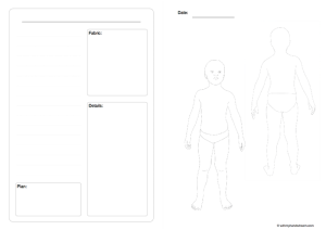 Fashion croquis template, child's body and notes section