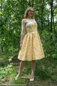 Sew Over It Rosie dress, sewn by me using Liberty cotton tana lawn, front view.