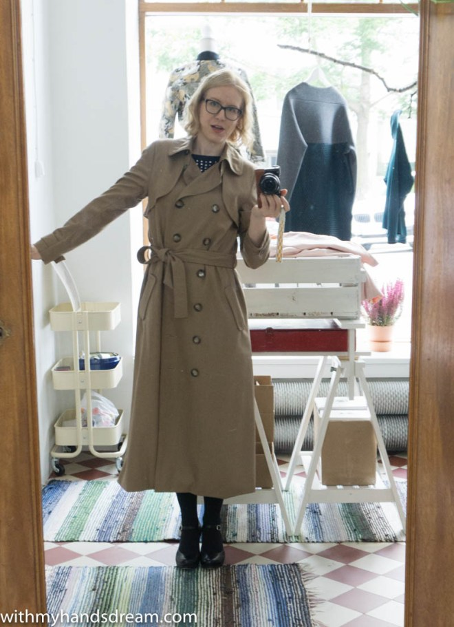 Image: Isla trench coat sewing pattern sample by Named clothing.